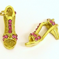 4 Gold plated Rhinestone Shoe charms 9X24X13mm